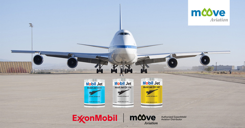 Commercial passenger plane centred perfectly in frame and is situated on the runway, accompanied with the ExxonMobil jet engine oil range, distributed in Europe by Moove Aviation