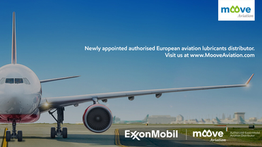Corporate plane with right hand wing and turbine, with a blue sky background. The image is used to announce the launch of European ExxonMobil aviation distributor: Moove Aviation