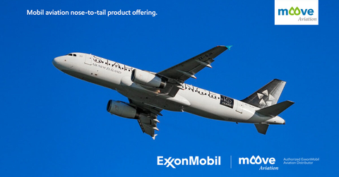 Vibrant blue sky featuring a commercial jet ascending for the purposes of including a full plane to depict the ExxonMobil nose to tail offer, also offered by Moove Aviation