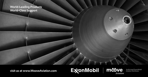 Close up of a jet engine turbine, in greyscale, to represent where ExxonMobil's jet engine oil would be used