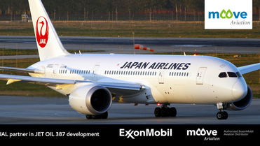 Japanese Airlines aeroplane just landed from flight on the runway, the image is used to depict the relationship between JAL and ExxonMobil and the use of mobil jet oil 387