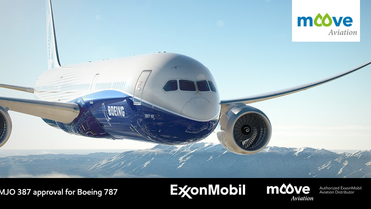 Large 787 Boeing dreamliner approved for ExxonMobil 387 Jet Oil