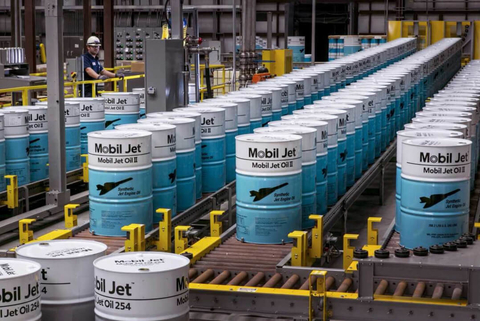 Mobil Jet Oil II multiple blue barrels